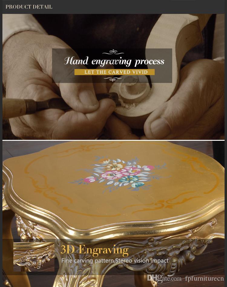 Старинная мебель для гостиной - Французский журнальный столик с ручной росписью