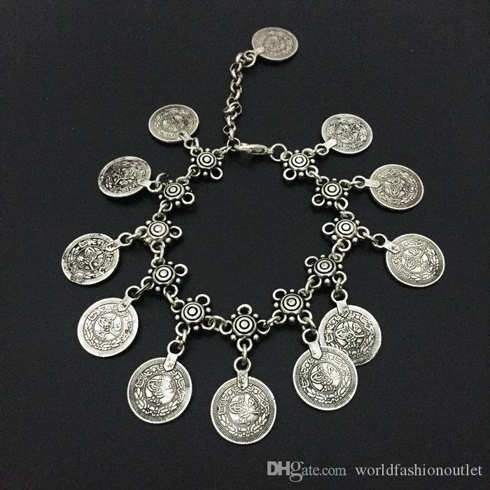 Playa borla pulseras de la moneda tobillera joyería de la vendimia mujeres oro plata verano pie cadena pulsera brazalete correas cordones accesorios de joyería