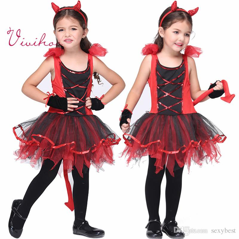 little devil costumes children halloween cosplay naughty demon costumes party girls red lace up tutu dresses sequins tire gloves outfits - Naughty Girl Halloween Costumes
