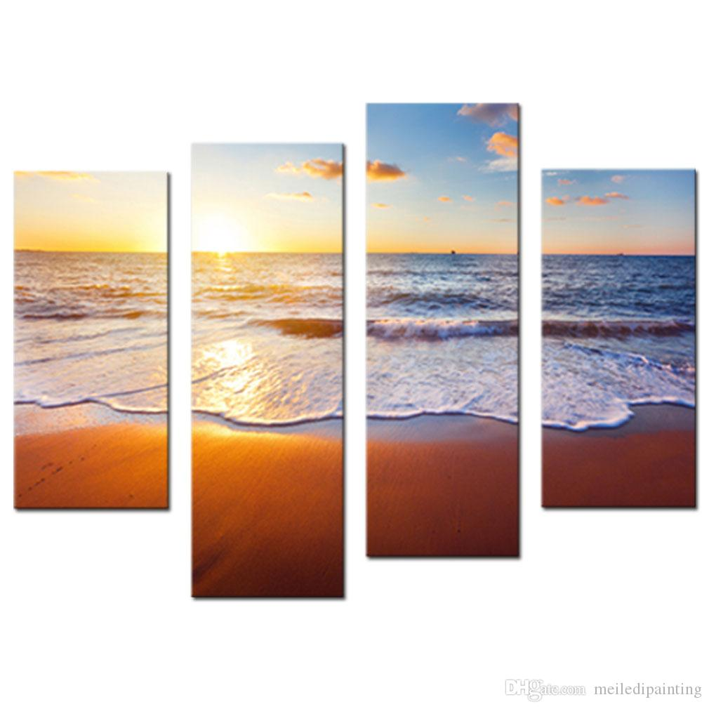 Amosi Art-4 Pieces Wall Art Sunset And Beach With Sea Wave Painting Print On Canvas Seascape Pictures Home Decoration with Wooden Framed