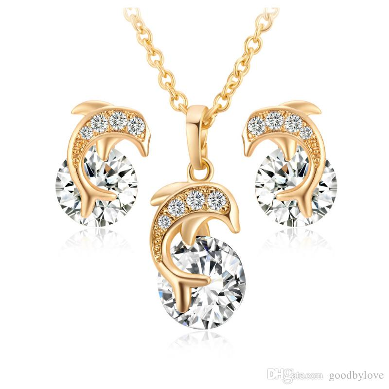 "Kids Jewelry Sets 18K Yellow Gold Plated Crystals CZ Cluster Cute Dolphin Stud Earrings 18"" Chain Pendant Necklace for Children Girls"