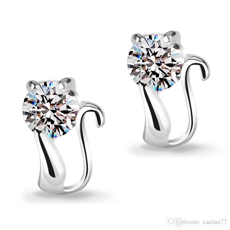 Beautiful 925 Silver small Cat Kitty Crystal Heart imitation Diamond flower Stud earings Cheap fashion Jewelry for women