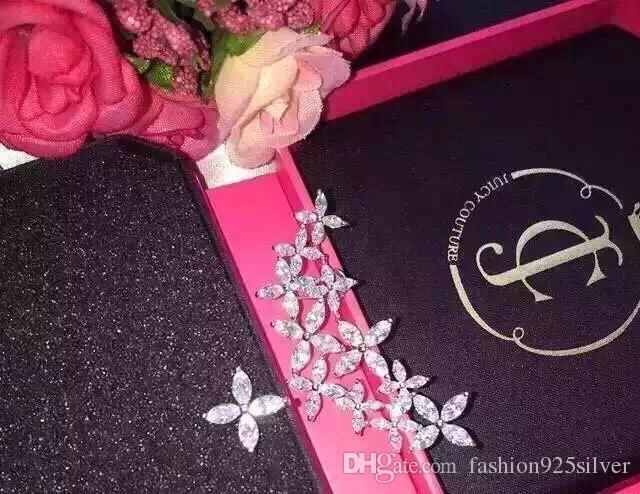 S925 Argento marchi europei e americani fiore grappoli orecchini asimmetrici