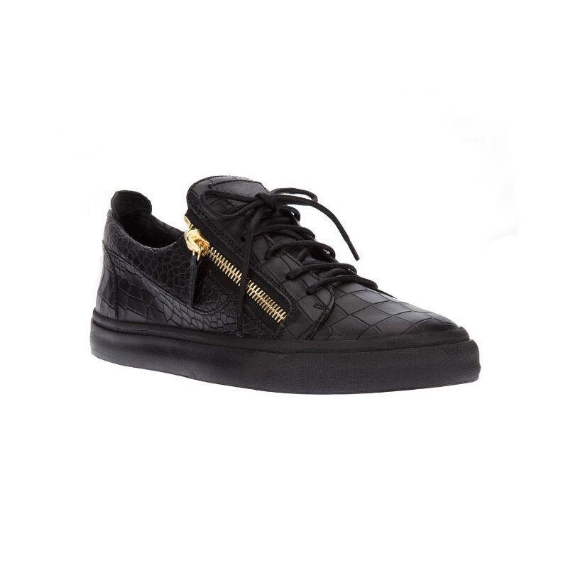 00479bc9f Compre Tamanho 35 46 Homens Baixo Corte Croc Zip Sapatos De Metal  Lantejoulas Homens Marca De Couro Genuíno Sapatos De Marca De Luxo Homens  Sapatos Casuais ...