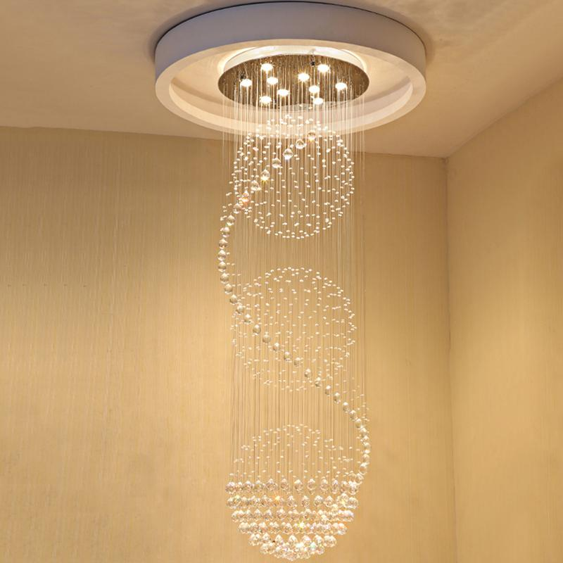 Compre modern k9 crystal chandeliers led espiral escaleras crystal compre modern k9 crystal chandeliers led espiral escaleras crystal ceiling pendant lights lmparas fixtures para staircase stair hotel mall vallkin a aloadofball Gallery
