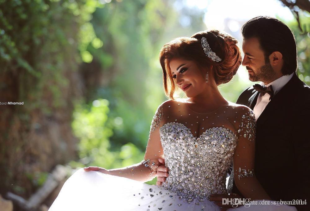 디자이너 럭셔리 크리스탈 긴 소매 공 가운 웨딩 드레스 모조 다이아몬드 레이스 업 다시 아랍어 웨딩 드레스 깎아 지른 목 Vestidos de Novia