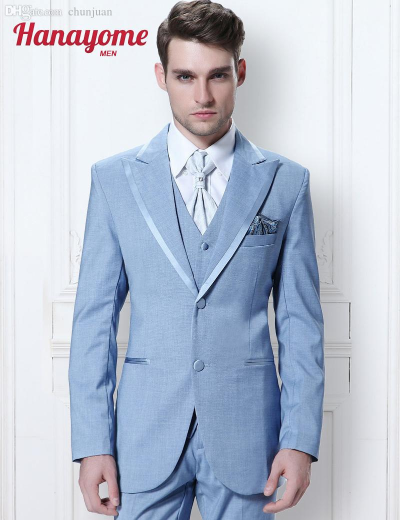 2018 Wholesale New Brand Suits Light Blue Suit For Male Long Sleeved ...