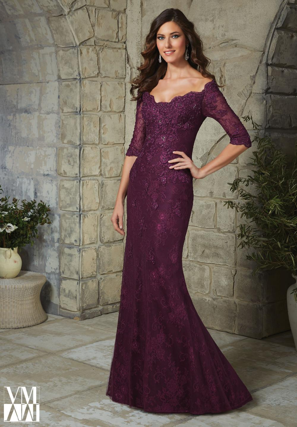 Elegant Plus Size Half Sleeve Plum Lace Mother of the Bride Dresses 2018 for Weddings appliques beading Mermaid Evening Dress
