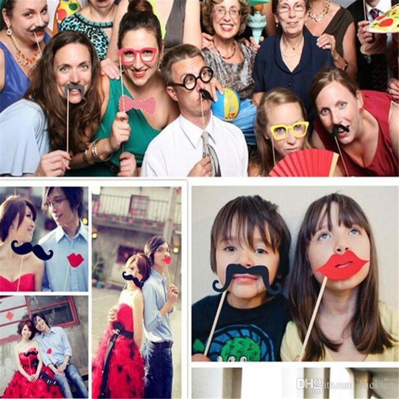 2017 Nuevo 58 unids / lote DIY Photo Booth Props Bigote Sombrero de Labio Antler Regalo Palillo Fiesta de Navidad Decoración de La Boda