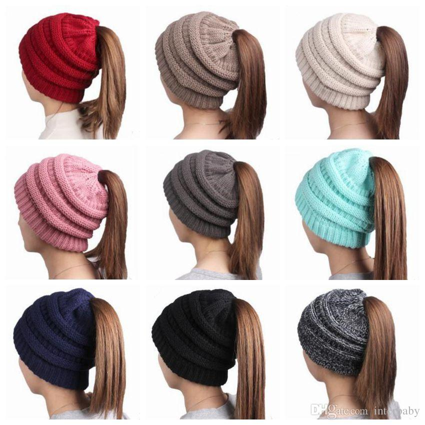 baccc3dbbc9ea Horsetail Hats Chunky Skull Caps Winter Beanie Cable Knitted Hats Fashion  Slouchy Caps Crochet Outdoor Headgear Oversized Hat Headdress 3523  Horsetail Hats ...