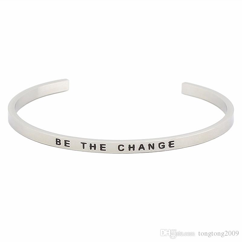 New Arrival Silver Color Women Mantra Bangle Stainless Steel Open Cuff Engraved Words Bracelet Bangles Jewelry