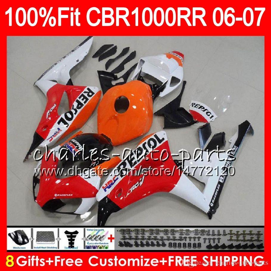 Repsol red Injection Body For HONDA CBR 1000RR CBR1000 RR 06 07 Bodywork 78HM4 CBR1000RR 06 07 CBR 1000 RR 2006 2007 Fairing kit 100% Fit