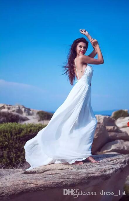 2017 Пляж Свадебные платья Sexy Спагетти Backless шнурка шифон Длинные Дешевые Свадебные платья сшитое Китай EN9151