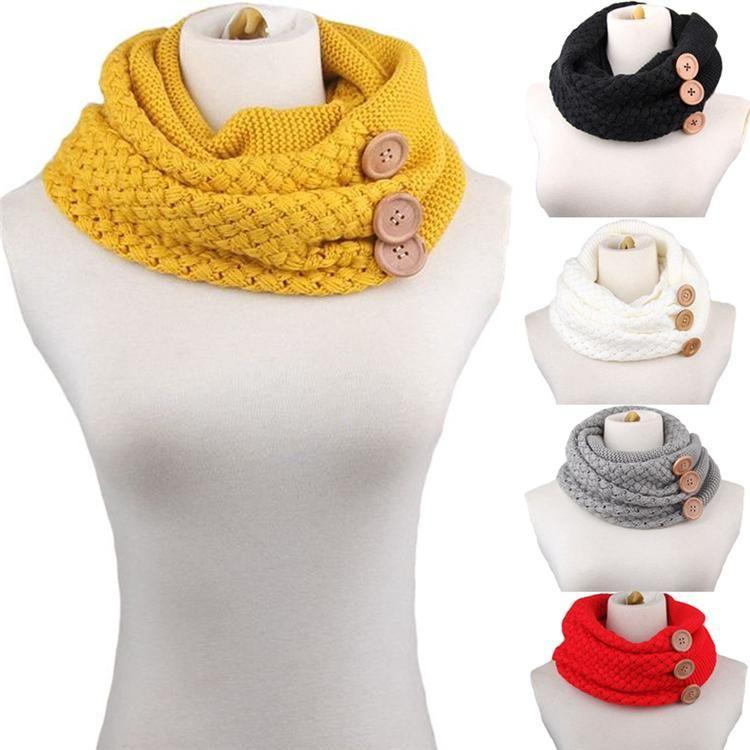 Fashion Women Men Wool Knitting Neck Warmer Button Decor Circle Wrap