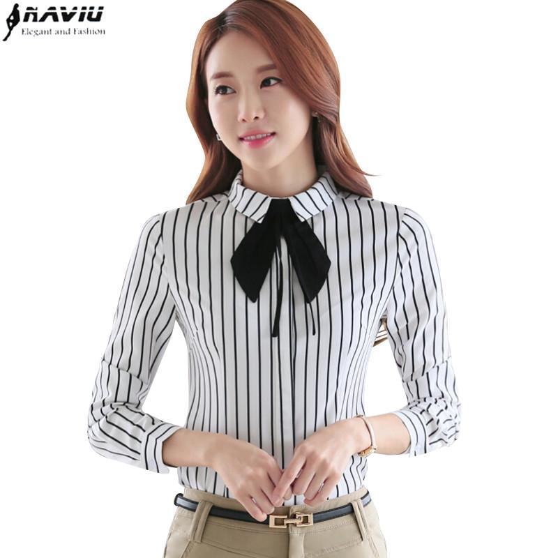 16d9fa68419 2019 OL Career Shirt Female Long Sleeve Black White Stripe Fashion Elegant  Slim Bow Tie Blouse Work Wear Formal Office Plus Size Tops From  Erindolly360b