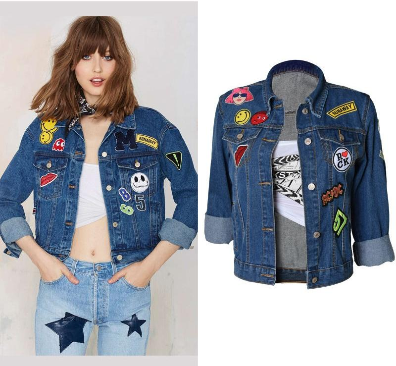 Wholesale 2016 New Denim Jacket Women Design Cartoon Embroidery