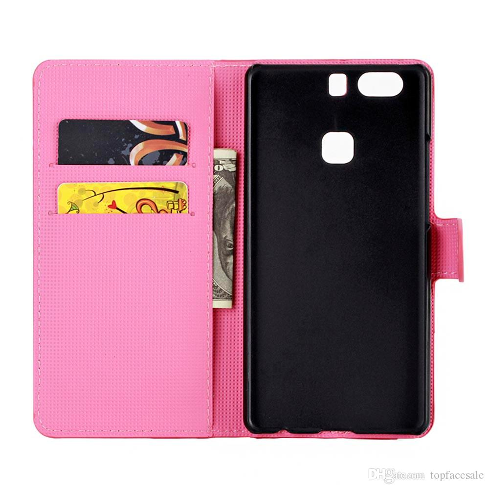 High Quality For Huawei P8 lite case Pink Plum PU Leather Wallet Stand mobile phone cover case For Huawei Ascend P9 Lite mini G9 case