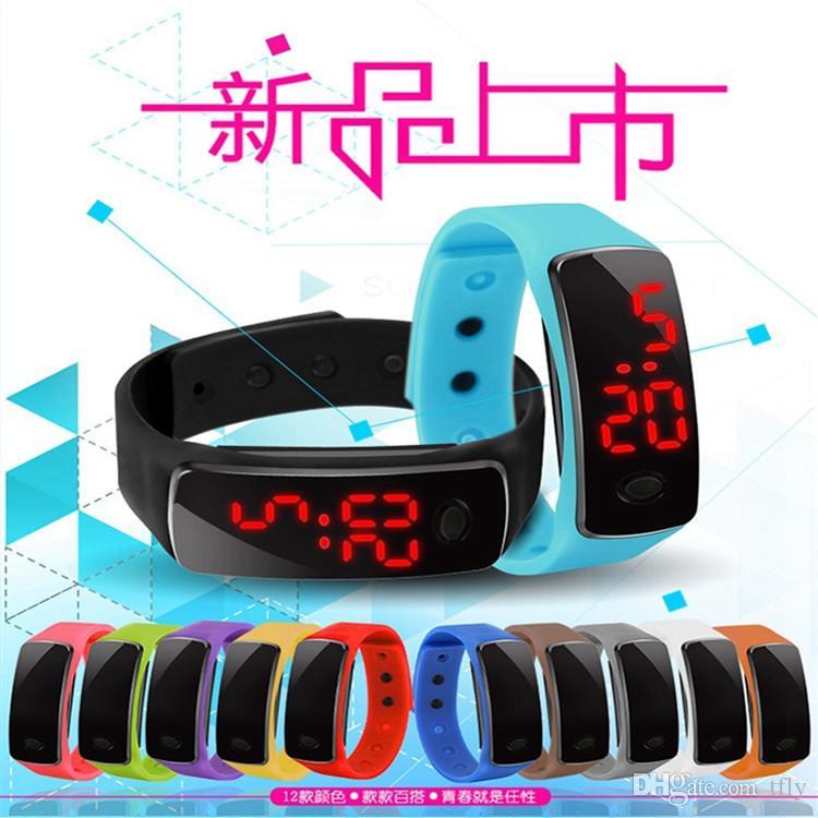 2016 Sport LED Watch Candy Jelly uomo donna Touch screen in gomma siliconica Orologi impermeabili digitali Orologio da polso a specchio con bracciale DHL