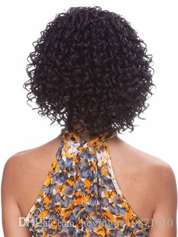 Xiu Zhi Mei Heat Resistant African American Medium Length Kinky Curly Synthetic Wig For Black Women 14inch Natural Hair