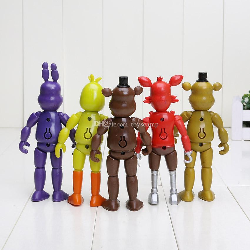 5 pçs / set 5.5 '' FNAF Cinco Noites No Freddy PVC Action Figure Toy Foxy Freddy Chica Freddy Luzes LED Ouro