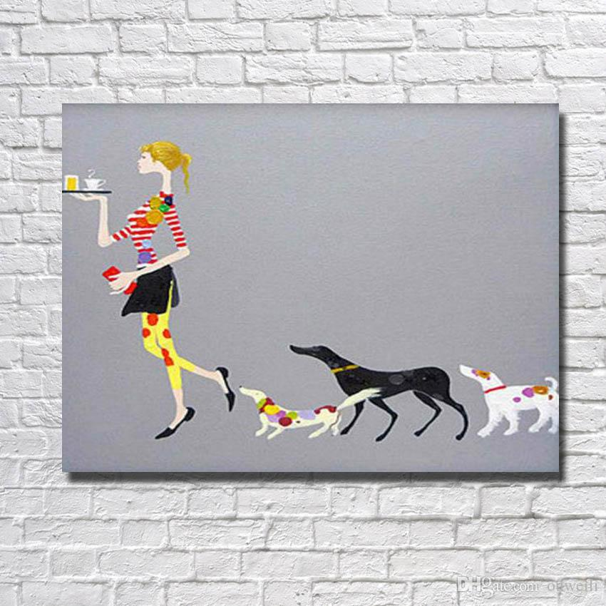 designer home goods. 2017 Designer Home Goods Cartoon Women And Dog Oil Panting Hand  Beautiful Pictures Interior Design Ideas