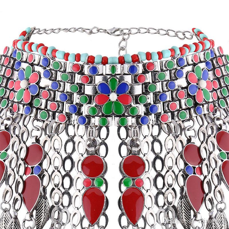 Женские старинные дизайн красочные масляной эмалью этнические племенные Boho монета кисточкой колье ожерелье Богемия перо воротник Stsatement ожерелье
