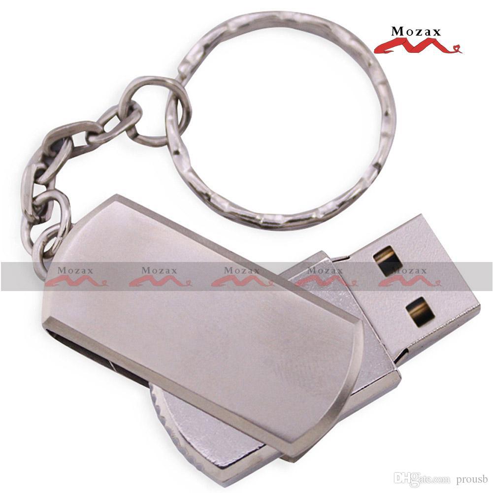 Logotipo Gravado Laser Grátis 128MB / 256MB / 512MB / 1GB / 2GB / 4GB / 8GB / 16GB Metal Swivel Metal USB com Keychain Memória Flash 100% Real Storage
