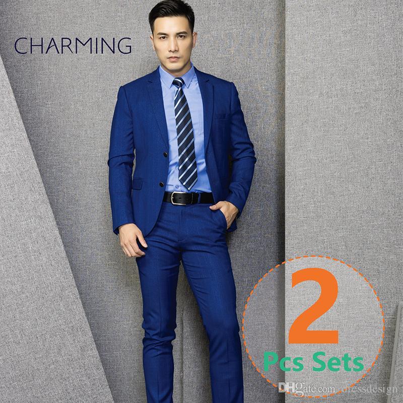 e0edb0a0d Trajes de hombre joven traje de 2 piezas para hombre (traje pantalón)  Espesor elástico de alta calidad de la tela para hombre trajes de boda  trajes ...