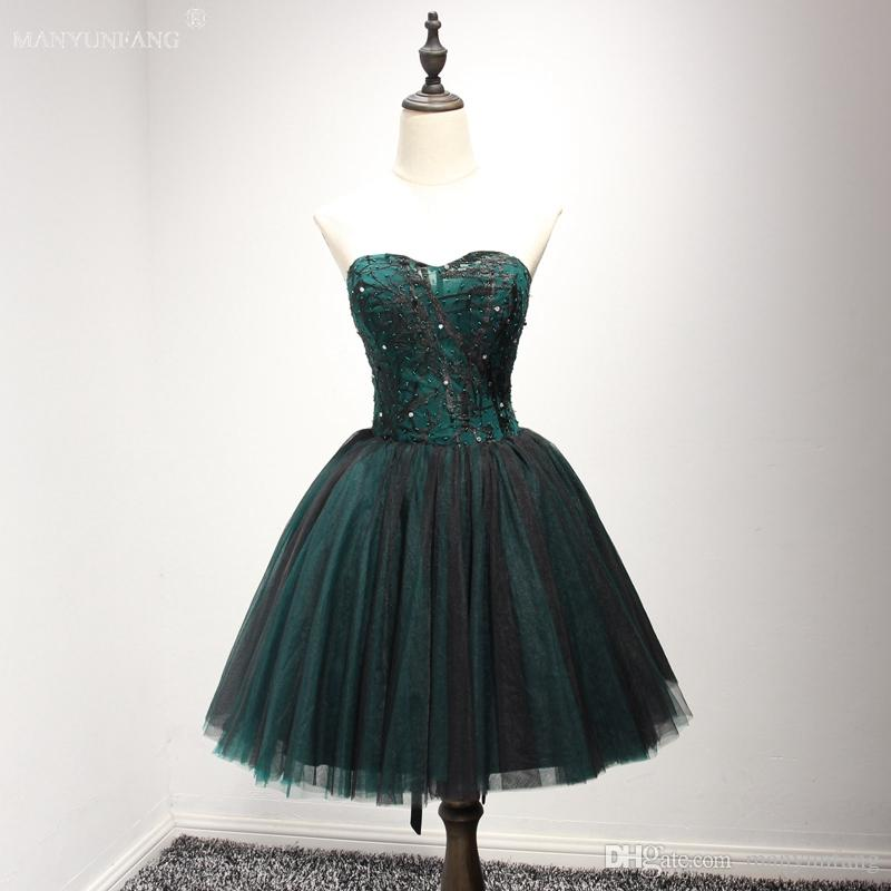 c5a7c5479 Robe De Soiree 2018 Little Black Fashion Lace Short Cocktail Dresses Bride  Banquet Elegant Embroidery Beading Party Dresses Formal Dress Online with  ...