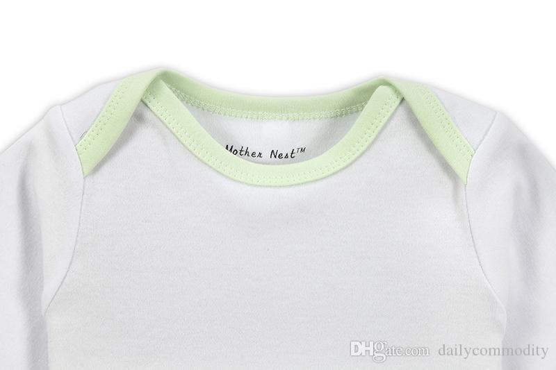 Pagliaccetto bianco con bordo verde chiaro Pagliaccetti Pagliaccetti bambino in vendita 3M / 6M / 9M / 12M Pagliaccetto autunno cotone primavera Pagliaccetto