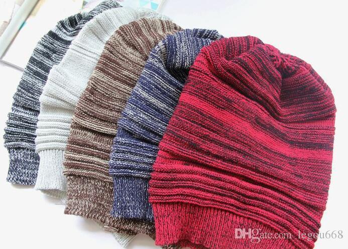 2016 Новый шапочки унисекс вязать мешковатые шапочки берет раза полосы вязание Hat зима теплая шерстяная мода негабаритных хип-хоп лыжные шапки HJIA1051