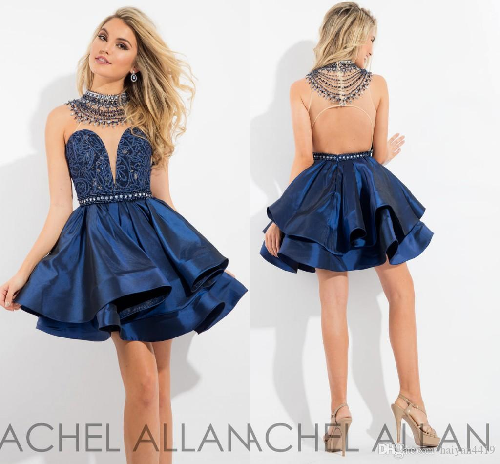 2017 New Navy Blue Homecoming Dresses High Neck Illusion Crystal ...