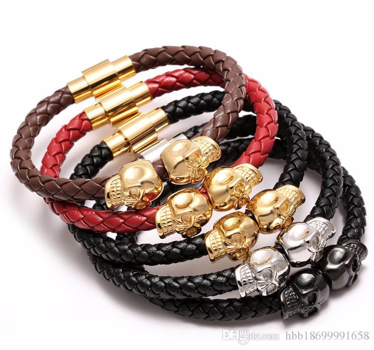 19 - 20 cm Magnetic Clasp Armband aus echtem Leder Cord Armband Mode Leder Armband Black Skull Punk Gun Farbe Mann für den Menschen