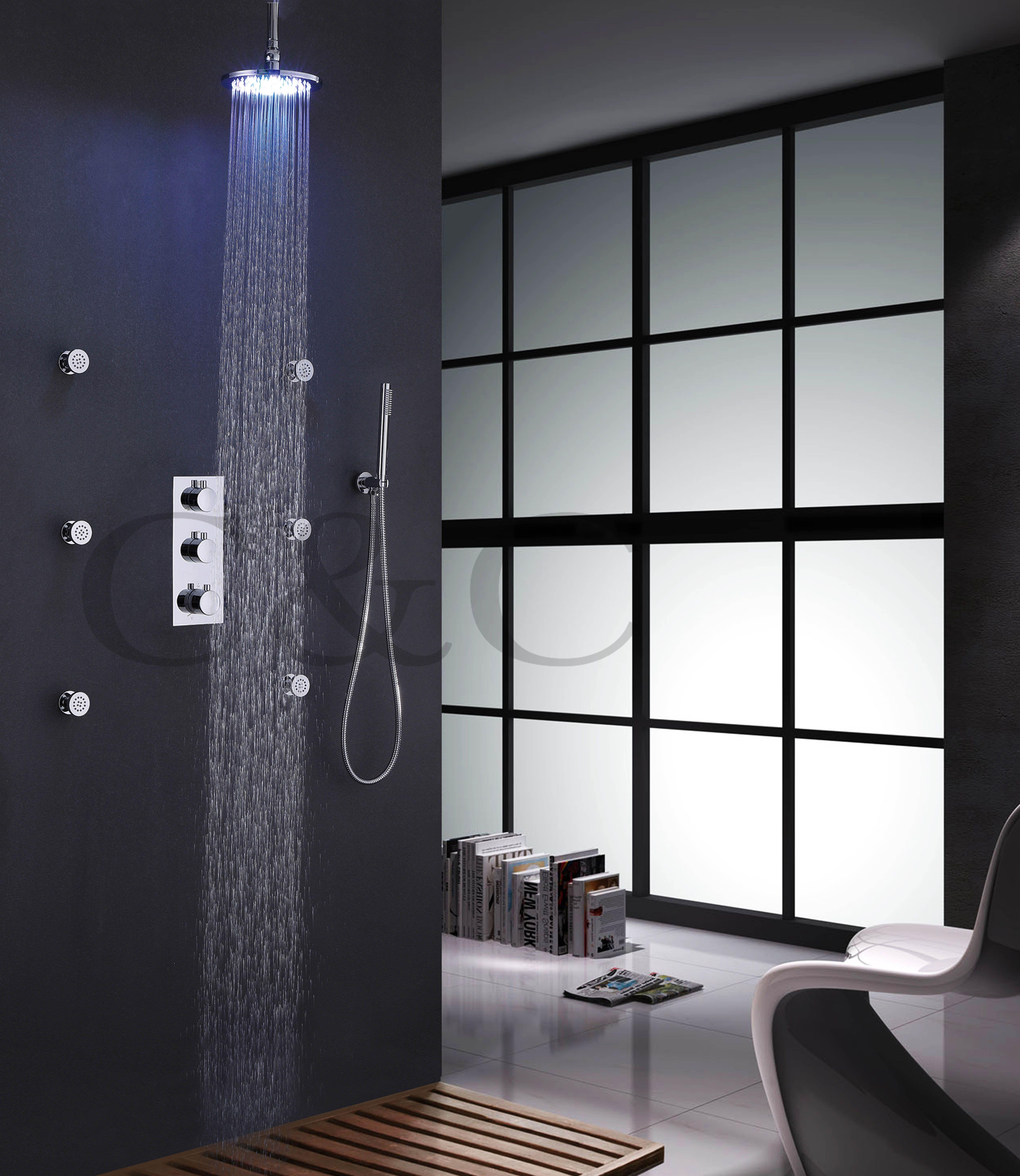 8 Inch Chrome LED Shower Head Spa Body Massage Spray Jets ...
