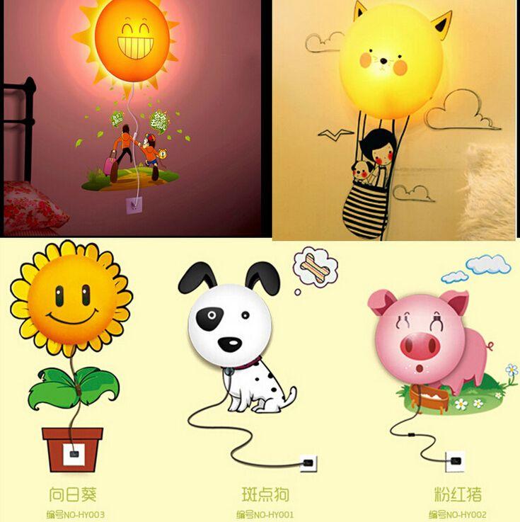 3d Wall Sticker Lamp 220v Novelty Night Light Cartoon Baby Diy ...