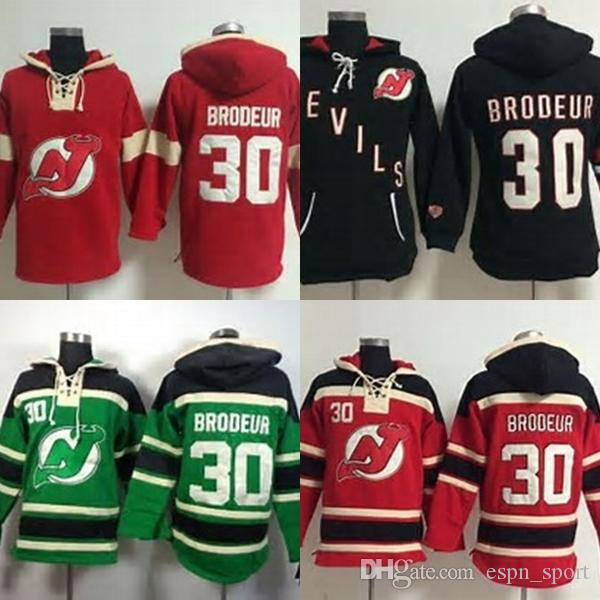 wholesale dealer 01ae1 64f45 Hot Sale Mens New Jersey Devils 30 Martin Brodeur Embroidery Logos Best  Quality Cheap Ice Hockey Hoodies Accept Mix Order Size S-3XL