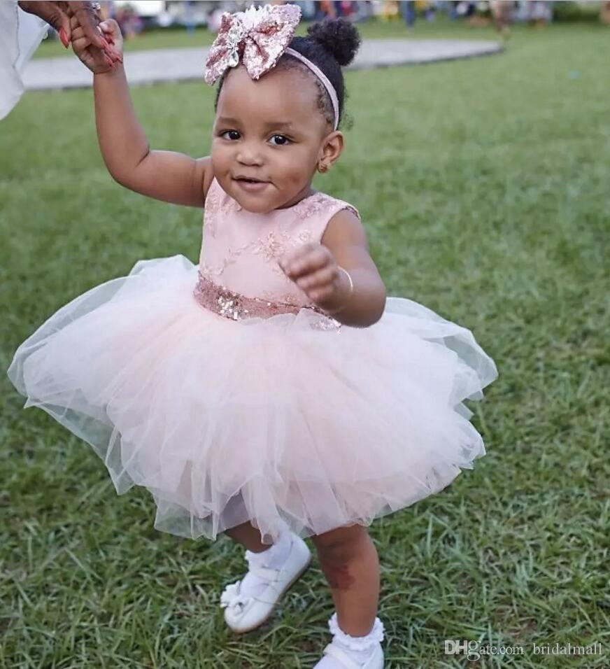 Baby Infant Toddler Birthday Party Dresses Blush Pink Rose Gold Sequins Bow Lace Crew Neck Tea Length Tutu Wedding Flower Girl Dresses 2018