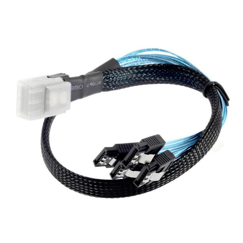 50CM Mini SAS 4i SFF-8087 FF8087 36P 36 pines Macho a 4 SATA 7-Pin 7P Cable adaptador divisor 180 grados 6G