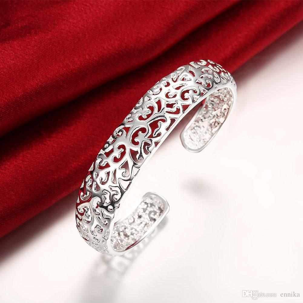 Silber-Armband der GroßhandelsPirces Frauen 925, Art- und Weisehohlblumen-Armband-Armband-Schmucksache-Weihnachtsgeschenk-freies Verschiffen b144