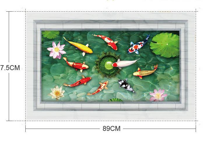 3D Stereo Fish in the Lotus Pond Wall Decal Stickers Removable Waterproof PVC Wallpaper Decor DIY Home Decoration Wall Art Mural Poster