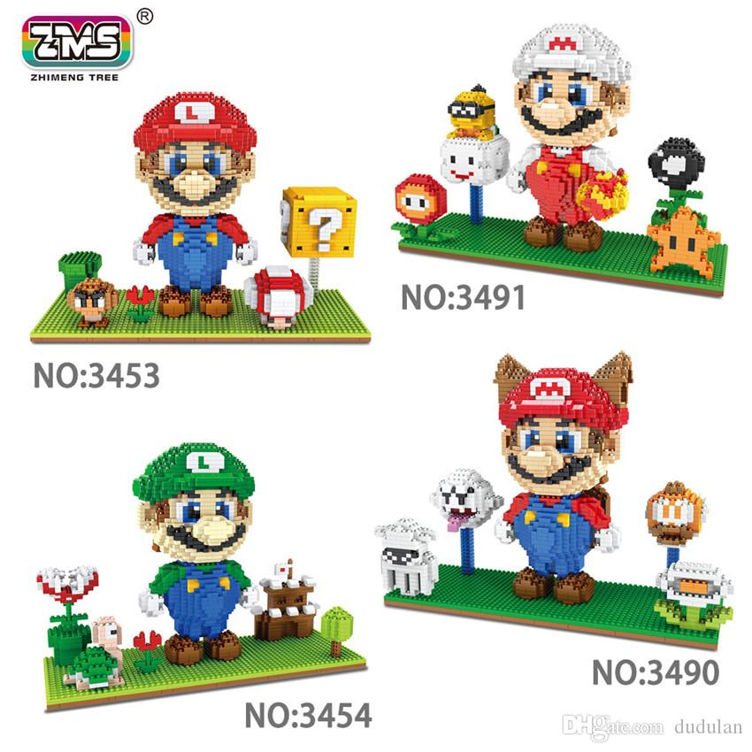2200+PCS diamond Size Anime Figure Mario and his brother Louis family Building Blocks Toys DIY Bricks with display base Cartoon Models
