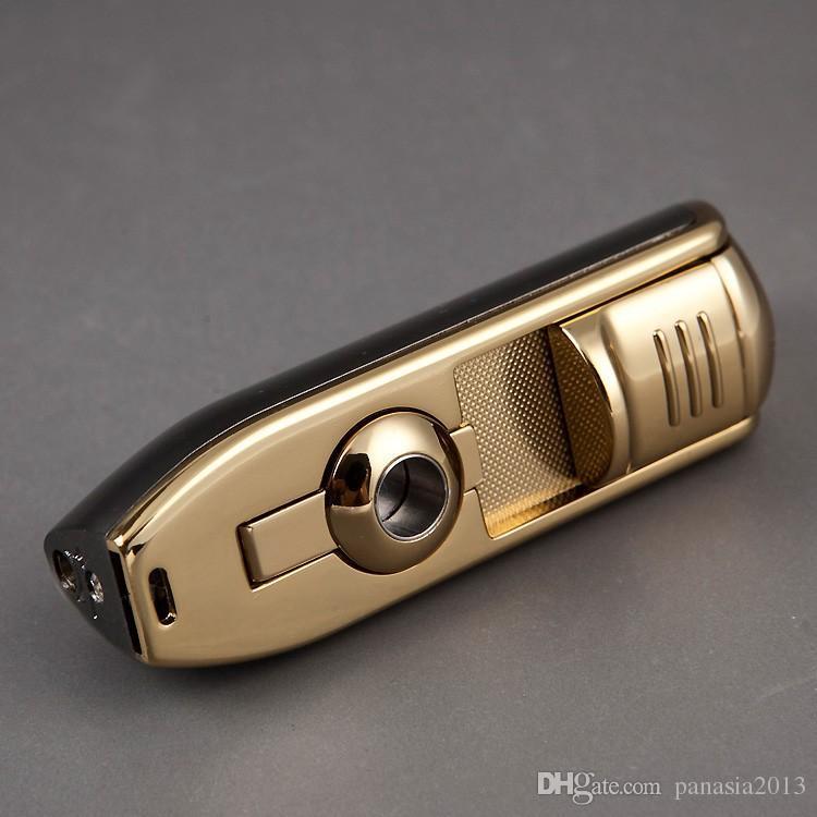 새로운 도착 도매 COHIBA 액세서리 포켓 품질 금속 뱀 입 모양 부탄 가스 방풍 3 토치 제트 화염 라이터 W 펀치
