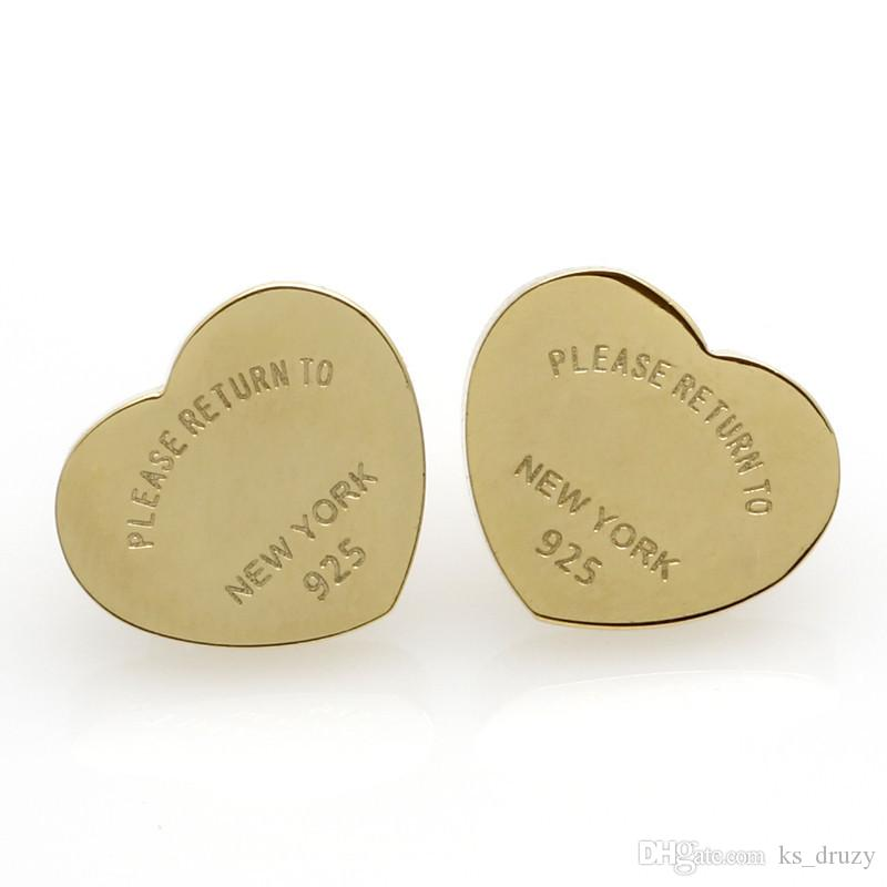 Haute Qualité Marque Coeur Anglais Lettres Titane En Acier Inoxydable Or Argent Boucles D'oreilles Pour Les Femmes Bijoux