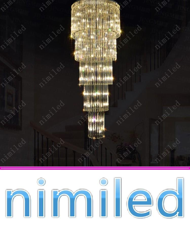 8af5cd1c26 Compre Nimi1010 Modern Dia 50/80 Cm Villa Dúplex Escalera Araña De Cristal  Luces De Escalera LED Larga Sala De Estar De Lujo Hotel Lobby Lámpara  Colgante A ...