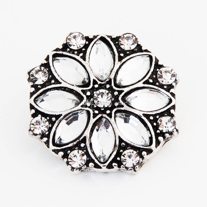 18mm Noosa Métal Gingembre Snap Button Charm Strass Cristal Styles Bouton Snaps Bijoux NOOSA Nosa pince Fermoirs ZA0046