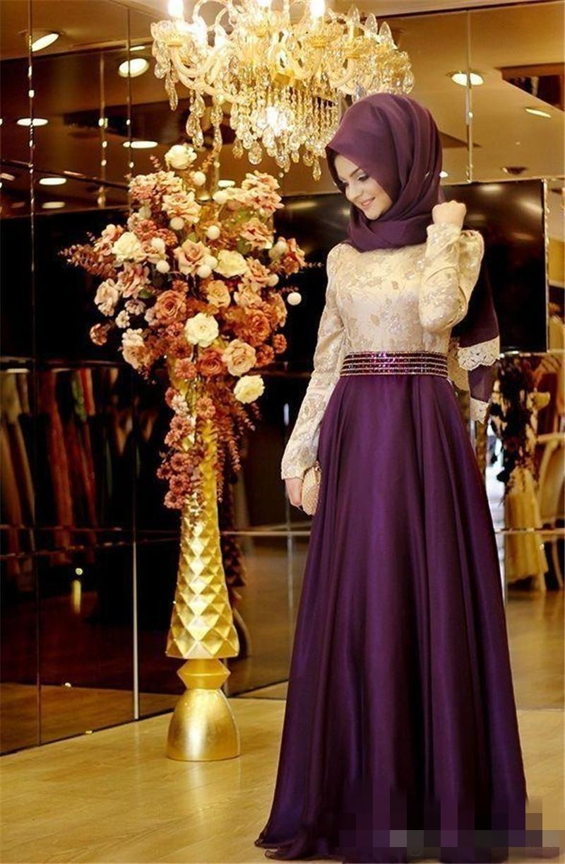Muslim Evening Dress With Long Sleeves Shiny Beading Waist Top Lace A-line Chiffon Burgundy Arabic Long Hijab Evening Dresses for Party