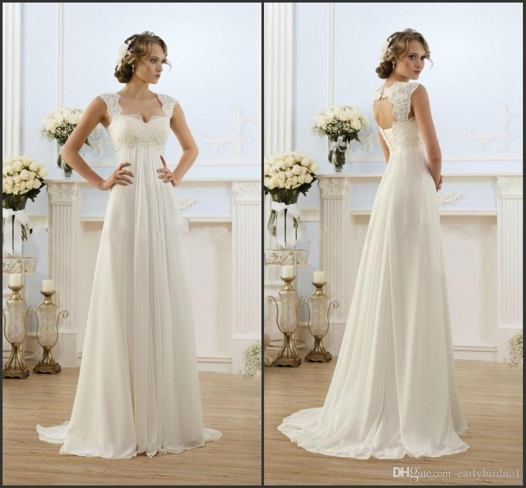 Only $69.89 High Quality Lace Chiffon Wedding Dresses Empire For Pregnant Women 2016 Sweetheart A Line Summer Beach Bridal Gowns New Trendy