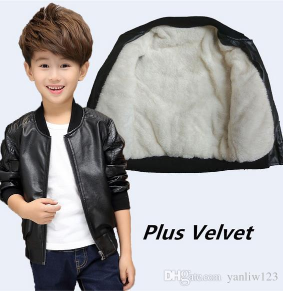 f2609460ab77 Children Boys Winter Coat New Winter Thick Velvet Kids PU Leather Jacket  Fashion Solid Children s Warm Clothes Outwears Children s Coat Girls  Clothing ...