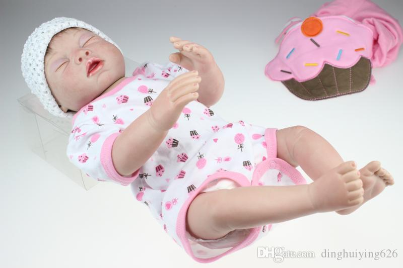 20 inch Silicone Reborn Baby Dolls Kids Toys For Girls Collectible Soft Vinyl Doll Baby Alive in Pink Clothes