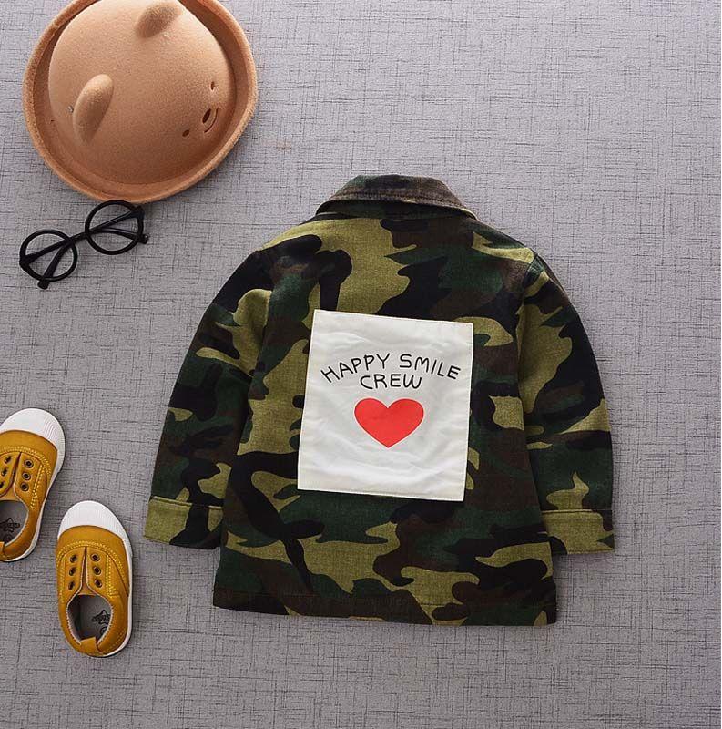 Chaqueta de color camuflaje para niños Otoño Invierno Niños Niños Niñas Chaquetas Abrigos de bebés Niño Outwear Abrigo de niños Tops Ropa para niños A1165